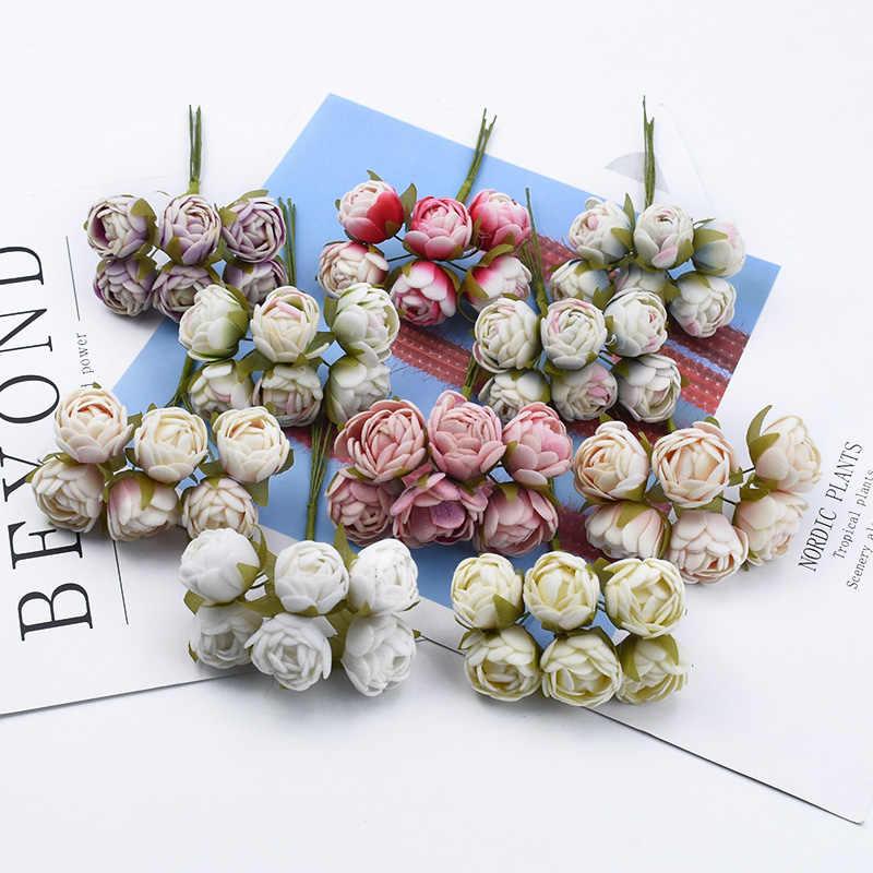 6/18 ชิ้นMINI Tea Budsผ้าไหมกุหลาบช่อดอกไม้ตกแต่งพวงหรีดคริสต์มาสของขวัญDiyกล่องพืชประดิษฐ์