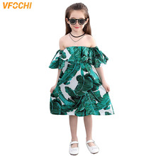 VFOCHI Girl Summer Dresses Cute Girls Beach Clothes Shoulderless Green Baby Kids for 3-12Y Teenager