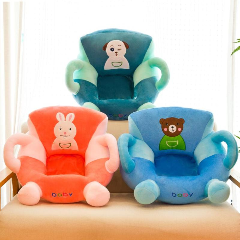 Soft Baby Sofa Cover Skin Kids Learning To Sit Chair Kids Baby Anti-fall Seat Cartoon Comfortable Feeding Chair Case No Filler