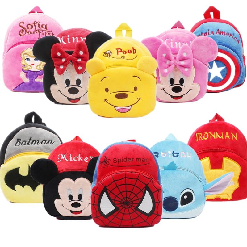 Plush-Backpack School-Bag Avengers-Figures Mickey-Mouse Kindergarten Stitch-Disney Winnie