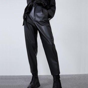 2020 nowych moda jesień zima kobiet wysokiej talii czarna sztuczna skóra spodnie pani PU luźne spodnie damskie obcisłe eleganckie z kieszenią w stylu