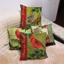 New Christmas Red Bird Theme Linen Pillowcase