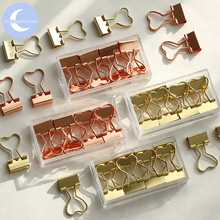 YueGuangXia 2 Colors Love Shape Pink Metal Gold Sliver Rose Purple Binder Clips Document Storage Deco Office Study
