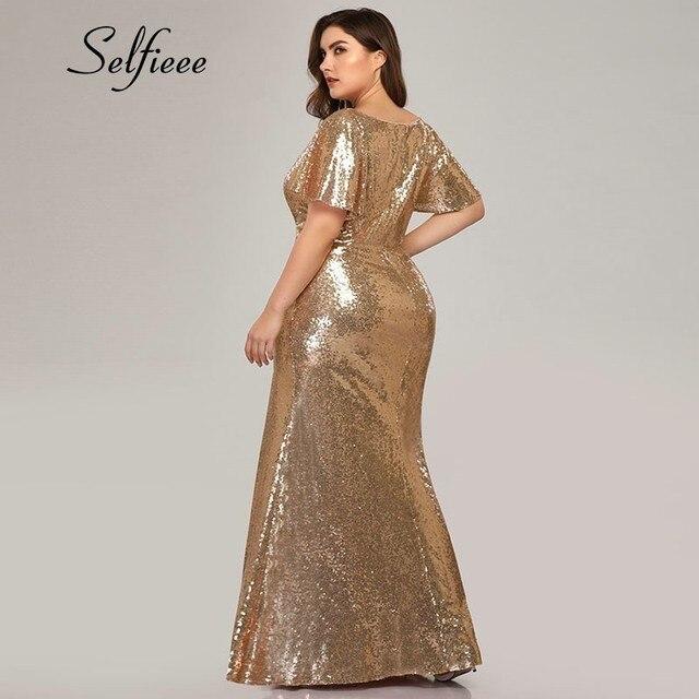 Plus Size Rose Gold Mermaid Women Dresses Short Sleeve Sequined V-Neck Bodycon Elegant Maxi Dresses For Party Robe Femme 2020 2