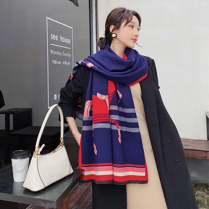 Bufanda de cachemir de invierno con estampado de animales para mujer 2019 nuevos chales cálidos gruesos y envoltorios de marca de diseñador caballo impreso Pashmina manta capa