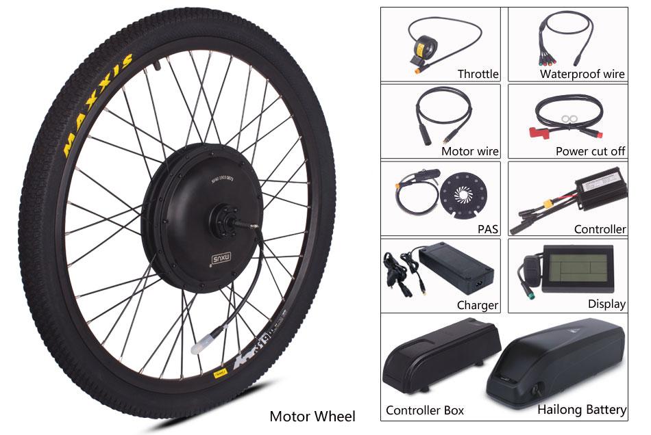 Chamrider Электрический велосипед Ebike комплект 500 Вт с прямым приводом в, 36 В, 48 В, 17AH хайлон Батарея MXUS LCD3 дисплей Julet Водонепроницаемый разъем