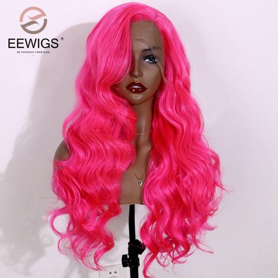 EEWIGS 360 # Color naranja rojo peluca sintética parte libre peluca con malla frontal Rosa caliente pelucas onduladas de fibra de pelo resistentes al calor para mujeres negras
