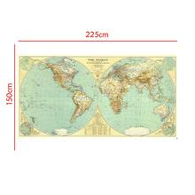 The Earth Elevation Profile 150x225cm World Map with Time Zones No National Flags For Culture And Education