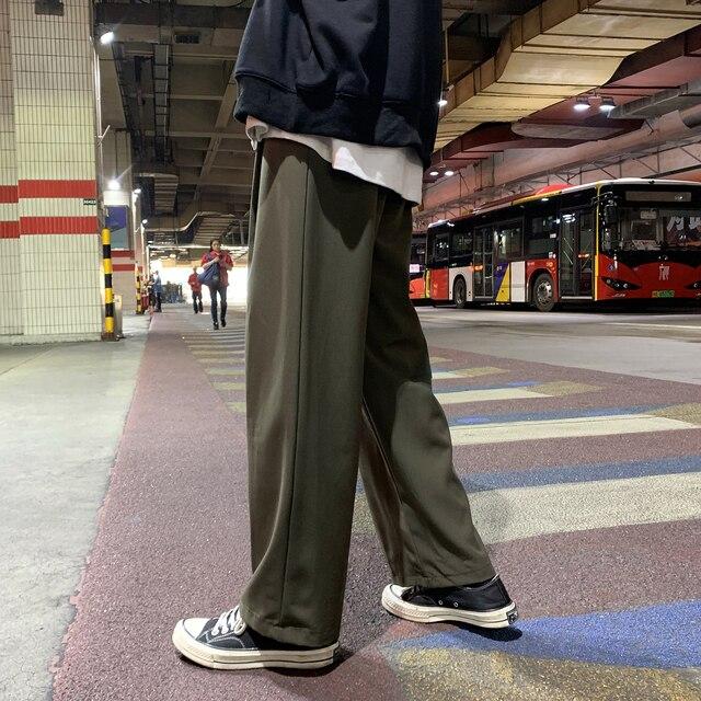 Men's Loose Leisure Cotton Casual Pants Tide Wide Leg Pants Black Trousers Active Elastic Hip Hop Suit Pants Grey Sweatpants 4