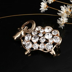 Ancient Women's Men's Sheep Korean Gold Color Zinc Alloy Trendy Rhinestone Brooch Badge Christmas Gifts Accessories