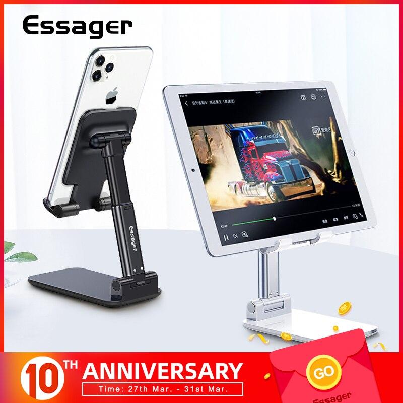 Essager Desk Mobile Phone Holder Stand For IPhone IPad Adjustable Metal Desktop Tablet Holder Universal Table Cell Phone Stand