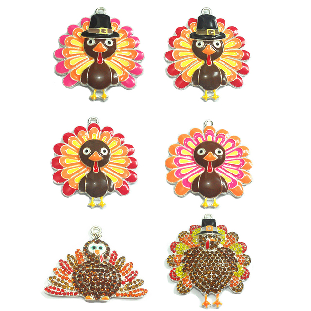 ( Choose Design First ) 10pcs/bag Silver Color Enamel and Rhinestone Thanksgiving Day Turkey Pendant For DIY Necklace Jewelry