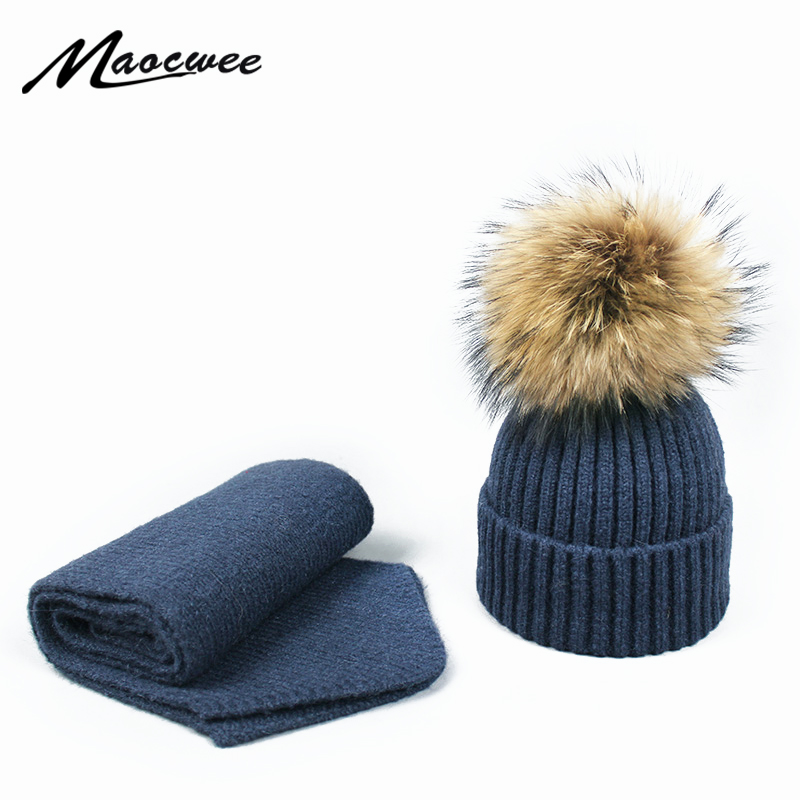 Pompon Cap Scarf Hat Set Winter Knitted Skull Children Cap Adult Hat Women Acrylic Unisex Solid Color Keep Warm Elastic Hat