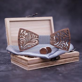 Wooden Bow Tie Set Cuff-link Handkerchief Mens Bowtie Necktie Novelty Handmade Neckwear for Men Wedding Party Gift Accessories недорого