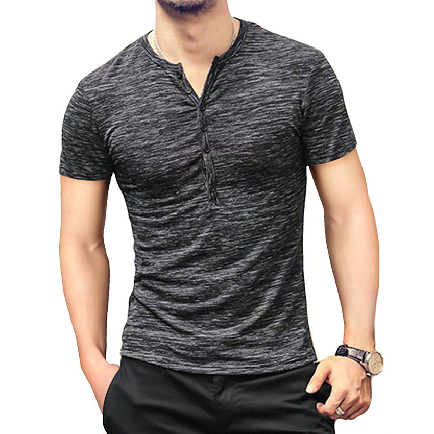 2019 New Best Selling European And American Men's Personality V-neck Button Solid Color Men's Shirt T-shirt image