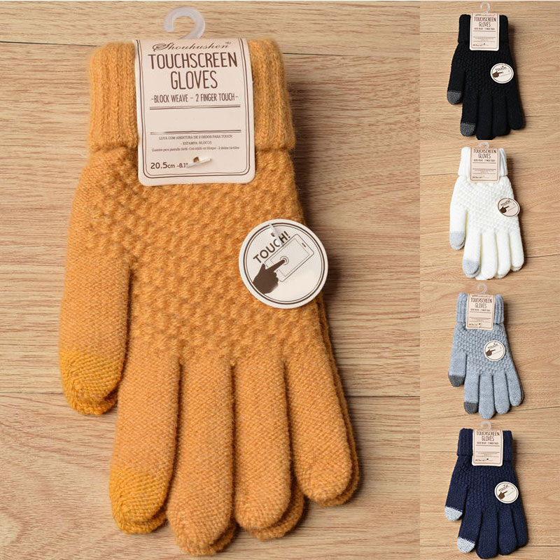 Women Men Winter Touch Screen Gloves Warm Crochet Knitted Full Finger Mittens Soft Patchwork Winter Gloves Trendy Female Mittens