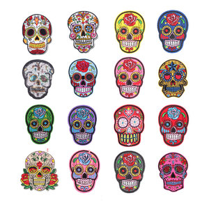 Skull Embroidery Patches Iron On Patch For Clothing DIY Stickers Sew On Clothes Denim Jacket Backpack Handbag Badges F