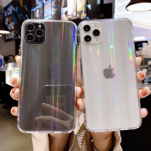 Gradient Rainbow laser Phone Cases For iPhone 11 Pro Max XR X XS Max 7 8 6 6S Plus Transparent Soft Fundas Clear Acrylic Covers