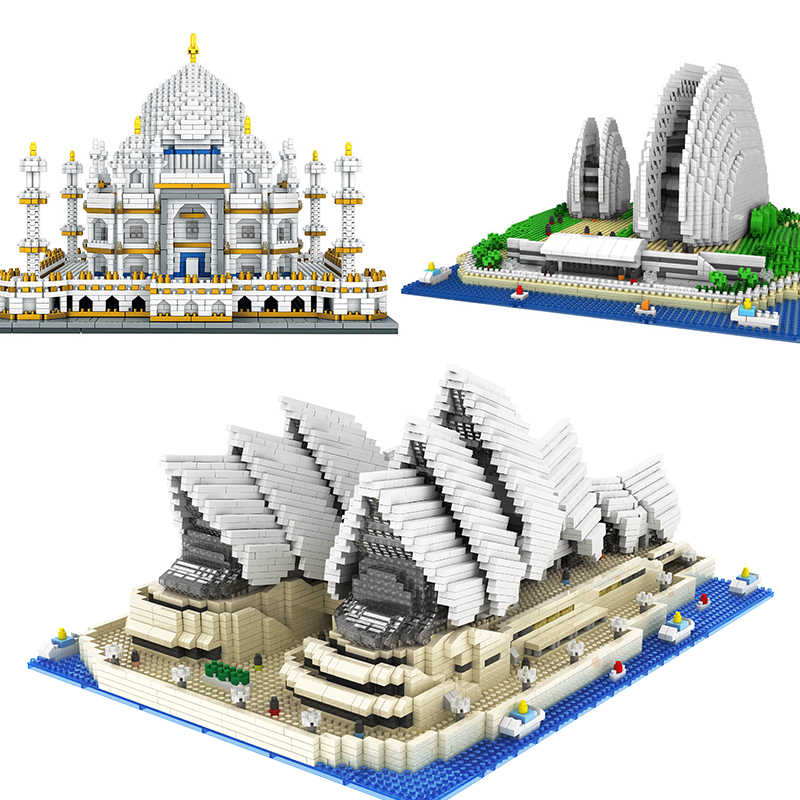 Architektura budynek kapitał miasto miasta Sydney Opera House i Taj Mahal zestawy lego montaż klocki zestaw DIY edukacja boże narodzenie prezenty zabawki