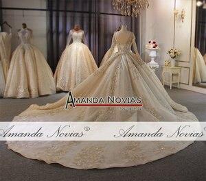 Image 2 - אמנדה Novias מותג חתונה שמלה באיכות גבוהה תחרה העבודה האמיתית דובאי שמלות כלה