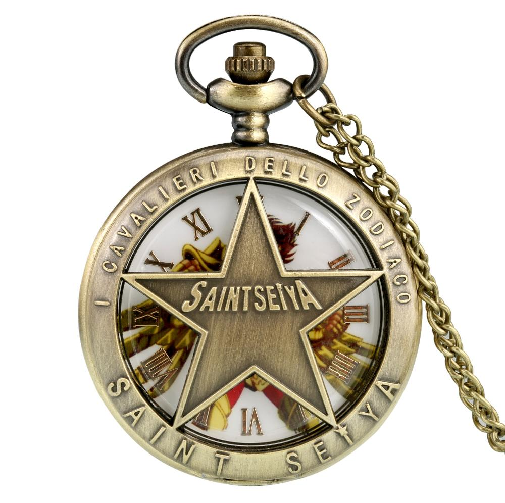 Delicate Saint Seiya Hollow Out Cover Pocket Watch For Men Slim Chain Pendant Watch For Women Relogio De Bolso