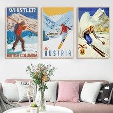 Afiche de esquí, Italia, dolomitas Cortina viaje cartel de viaje retro vintage lienzo pintura DIY pared arte hogar Bar carteles de decoración
