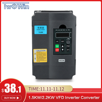 VFD Inverter 1.5KW/2.2KW Frequency Converter Variable Frequency Drive 1HP Input 3HP Output For CNC Motor Driver Speed Control