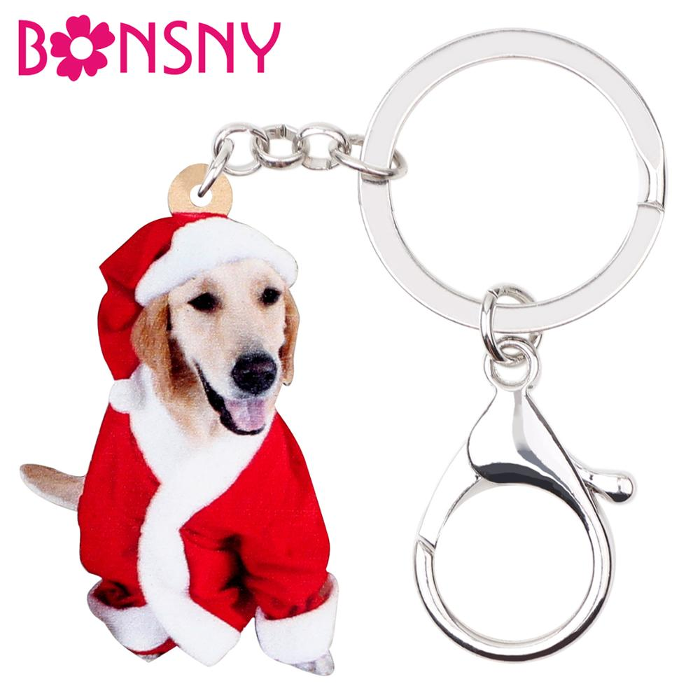 Bonsny Acrylic Christmas Labrador Dog Key Chains Key Rings Bag Car Purse Sweet Pets Keychain For Women Girl Hot Sales Charm Gift