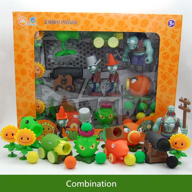 Large Genuine Plants Vs. Zombie Toys 2 Complete Set Of Boys Ejection Soft Silicone Anime FigureChildren's Dolls With Box