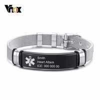 Vnox Free personnaliser les Bracelets d'identification d'alerte médicale pour hommes femmes noir bracelet en acier inoxydable bracelet en maille bracelet d'urgence bijoux