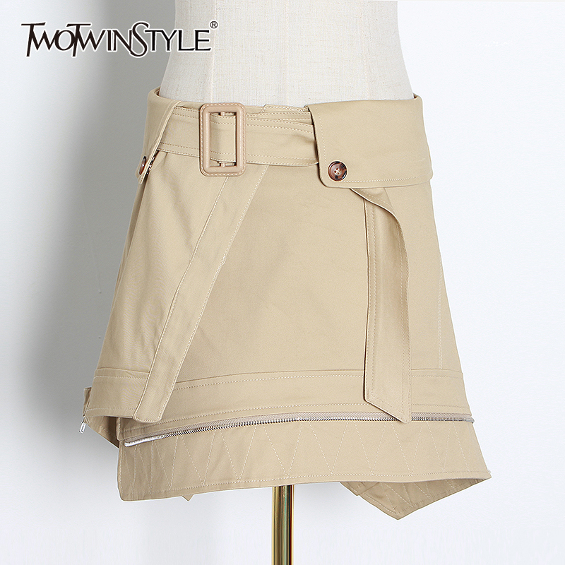 TWOTWINSTYLE Casual Asymmetrical Skirts Female High Waist With Sashes Ruched Irregular England Style Mini Skirt Women Fashion