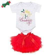 3PCS My 1st Christmas Costume Newborn Baby Girl Clothes Short Sleeve Romper + Lace Tulle Tutu Skirt + Headband Outfits Clothes цена в Москве и Питере