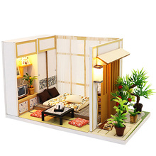 Wooden Toys Diy Dollhouse Puzzle Assemble 3D Thumbnails Miniature with Dust Cover Doll House Furniture for Childr