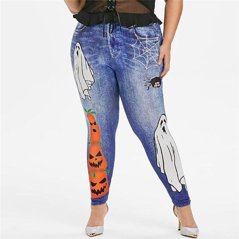 New Fashion Plus Size Halloween Jeans Women Plus Size Spider Pumpkin Halloween Printing Leggings Pants jeans mujer 4A30 (8)
