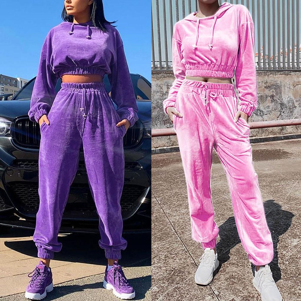 Fashion Womens Keep Warm Long Sleeve Drawstring Hooded Sweatshirt Tops Pants Set Dropshipping  Fashion Size Leisure USA EU Free