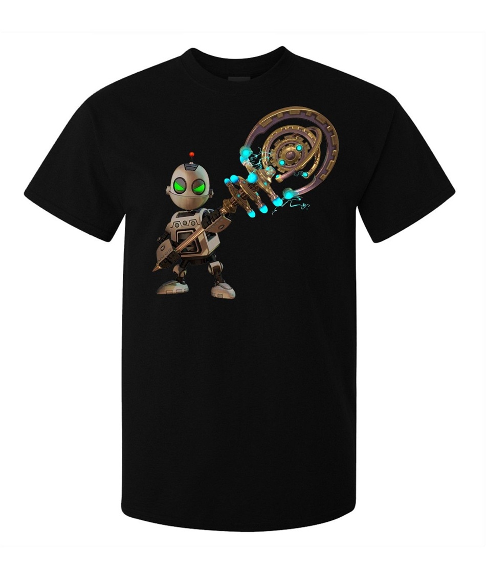 Ratchet And Clank Game Character Clank men's (woman's available) T Shirt black Tee Shirt Funny Design Tops image