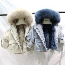Зимняя куртка для девочек, пальто, парки из натурального меха кролика рекс с капюшоном с мехом лисы, детские куртки «летучая мышь» для мальчиков