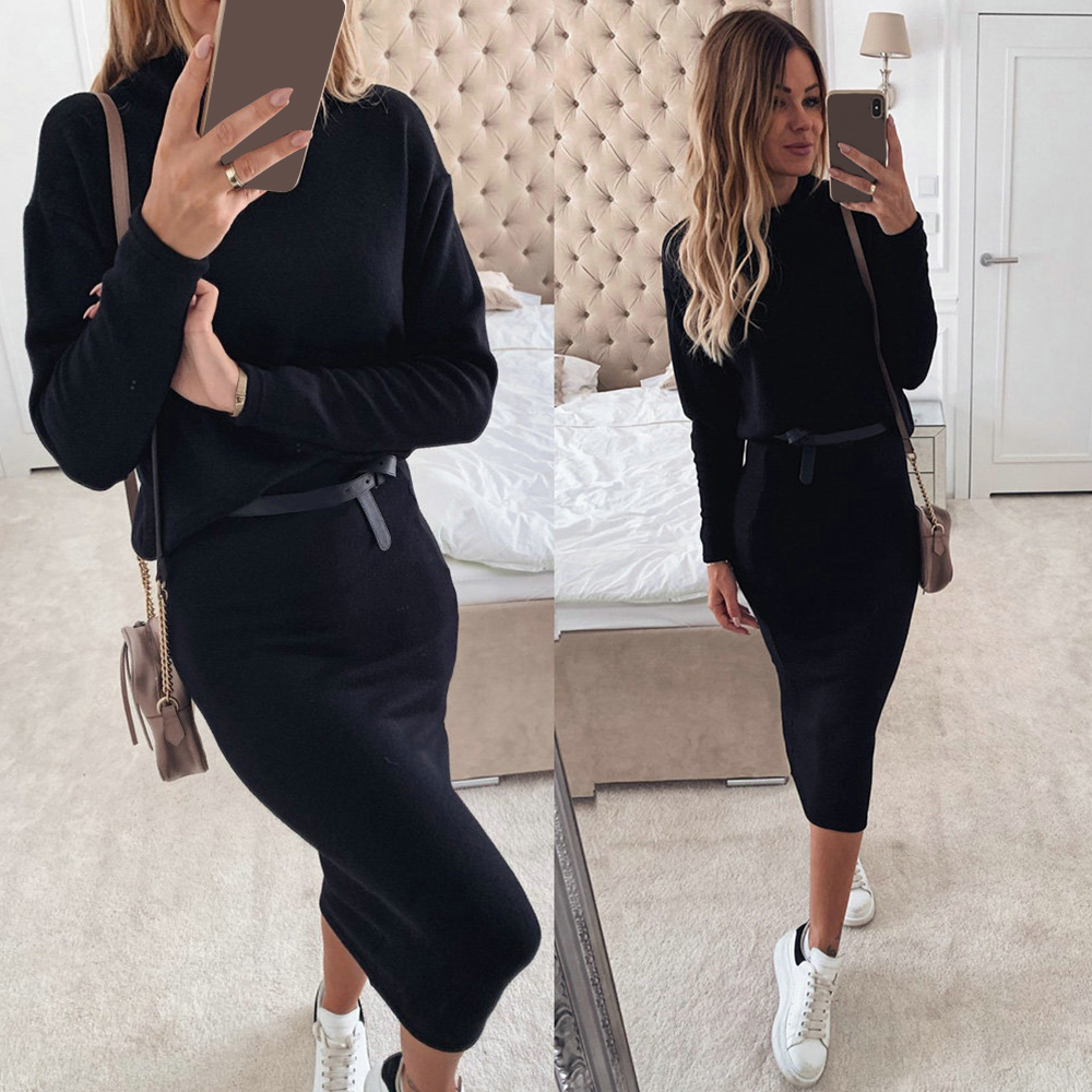 Autumn Women Suit Knitting Sweater+Pencil Skirt Two Piece Set Lady Casual 2019 Winter Turtleneck Outfits Female Clothing Set D30