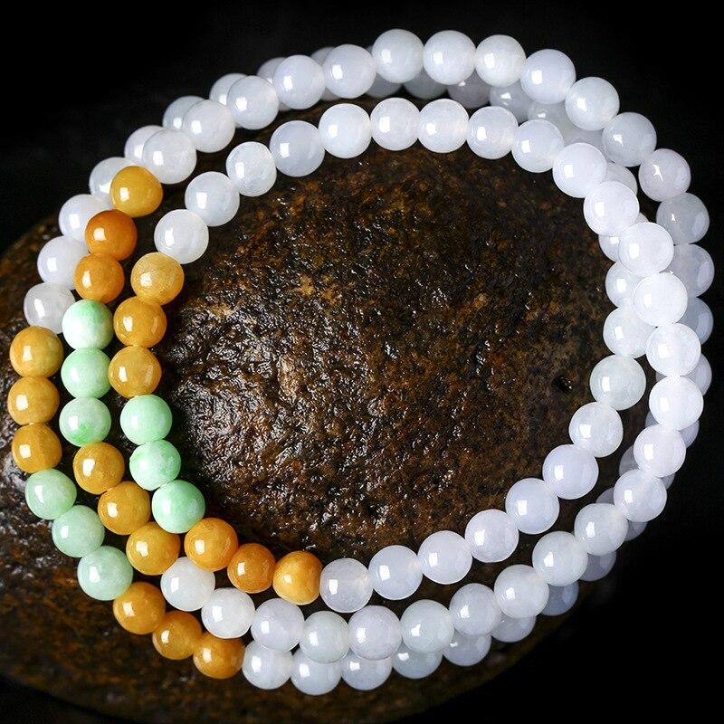 Naturel émeraude Tri couleur perles 6mm breloque collier bijoux accessoires de mode sculpté à la main homme femme chance amulette cadeaux A89