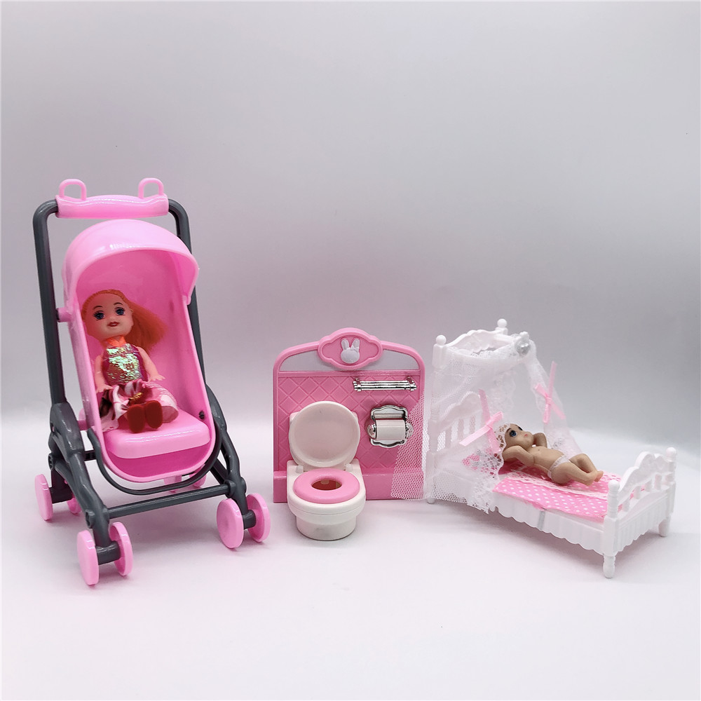 2020 Latest Fashion Cute Barbies Doll Play House Educational Toys Children Plastic Accessories Dual-use Stroller Toilet Crib Sma