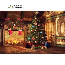 Laeacco Photo Backdrops Christmas Tree Brick Wall Sock Fireplace Kid Wooden House Interior Background Photocall For Studio