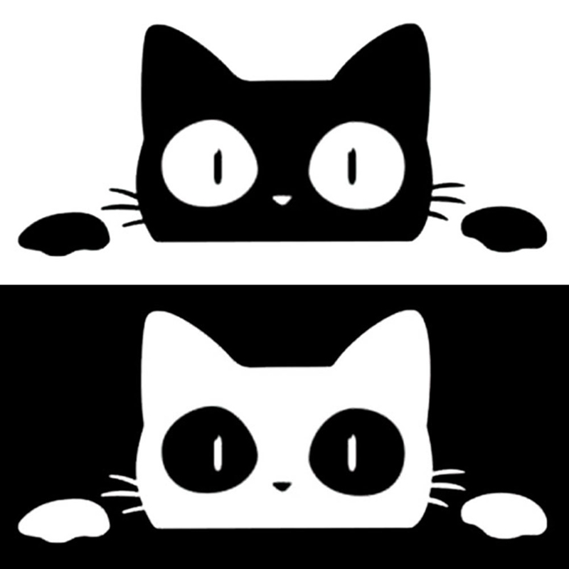 14CM*6CM Surprise Cat Peeking Car Sticker Vinyl Decal