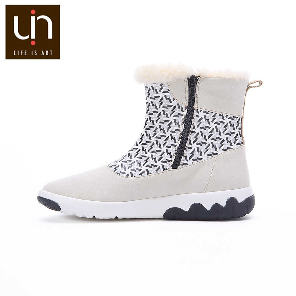 УИН Роттердамская серия; сезон осень-зима; Модные женские ботинки; микроволокнистая замша; женские теплые белые ботинки на плоской подошве; уличная спортивная обувь
