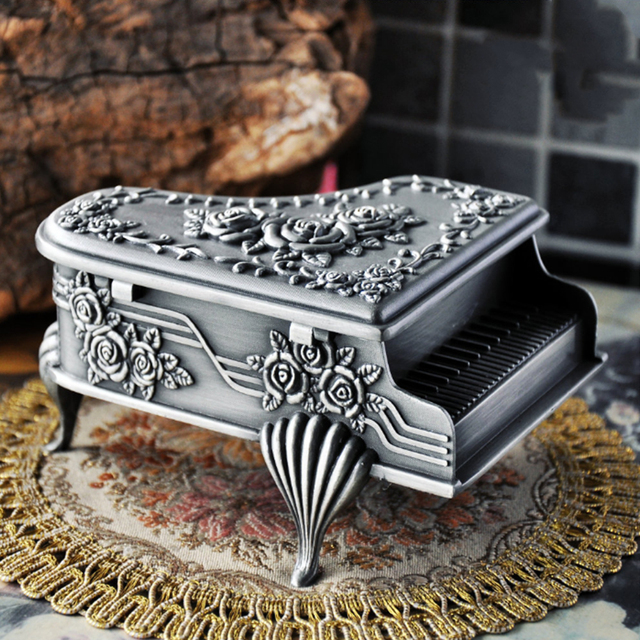 Piano Shape Storage Gift Zinc Alloy Vintage European Style Necklace Jewelry Box Earring Rings Bracelet Anti