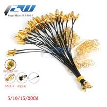 Бесплатная доставка! 5 шт. Соединительный кабель SMA для uFL / u.FL / IPX / IPEX RF коаксиальный адаптер в сборе Пигтейл кабель 1,13 мм RP-SMA