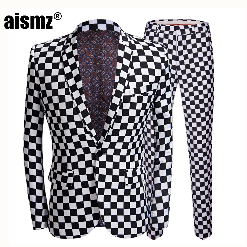 Aismz Coat Pant Costume Suit Men Slim-Fit Wedding-Stage-Singer Print Plaid Black 2pieces-Set