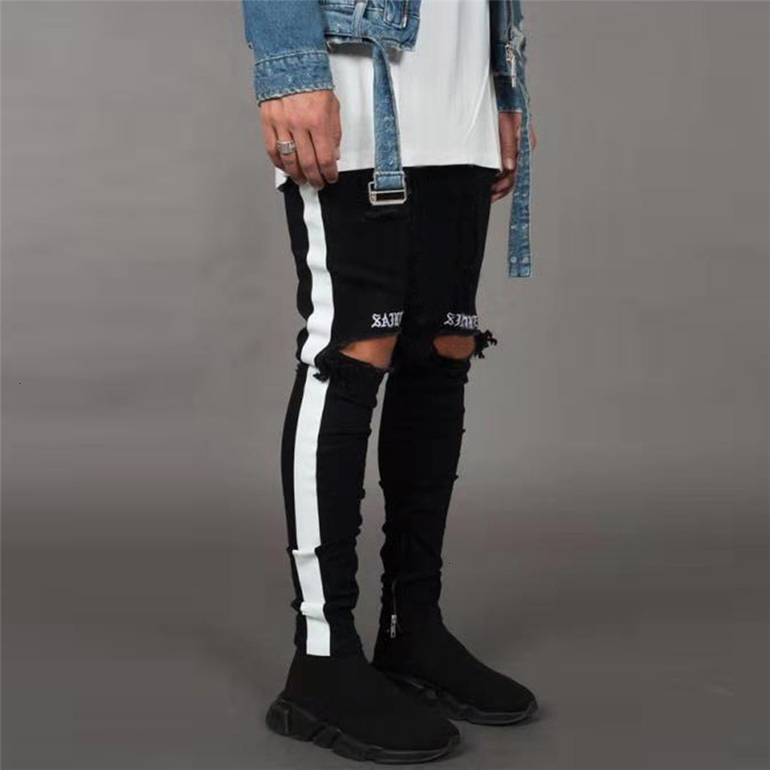 Ripped Jeans Men's Streetwear Denim Embroidery Cotton Straight Hole Pocket Trouser Distressed Jeans Pencil Pant Trousers