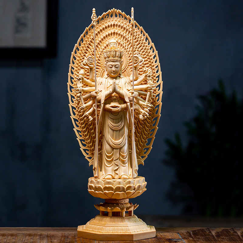 Thousand Hands Guanyin Wood Carved Figure Buddha Statue Canadian Cypress Wood Lotus Home Decoration Chinese Decoration