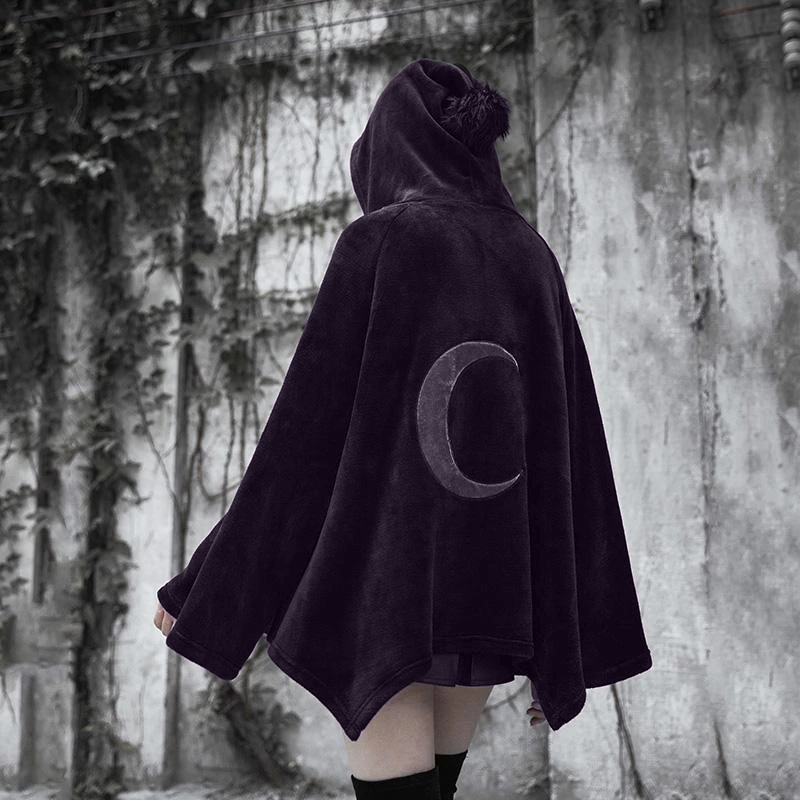 Imily Bela Gothic Hooded Poncho Women Casual Flare Sleeve Velvet Cape Coat Fashion Cloak Streetwear