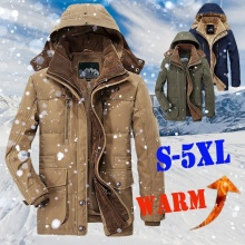 Hooded Coat Outwear Parkas Men's Jackets Men Fleece Jaqueta Detachable Warm Man Thicken